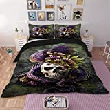 Green and Purple Duvet Set 3 Pieces Duvet Cover King 3D Purple Dragon Floral Skull Pattern Printed Green Bedding Duvet Cover with Zipper Ties Soft Microfiber Gothic Bedding 90
