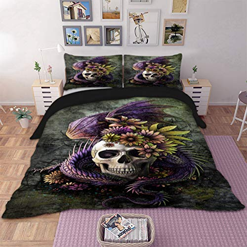 Dragon Bed Set - 3 Pieces Duvet Cover Set 3D Purple Dragon Floral Skull Pattern Printed Bedding Duvet Cover with Zipper Ties Soft Microfiber Gothic Decor Queen Size Multicolor 90