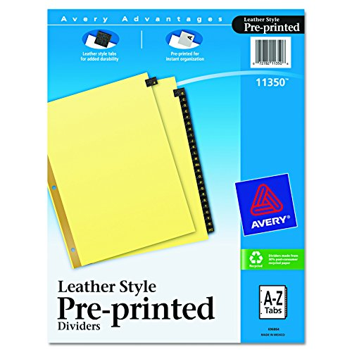 Avery 11350 Black Leather A-Z Index Tab Dividers