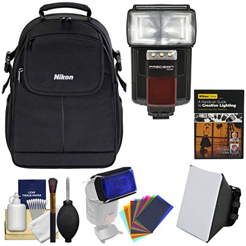 Nikon 17006 Compact Digital SLR Camera Backpack Case with Lighting DVD + Flash & Video Light + Soft Box + 12 Flash Filters + Kit