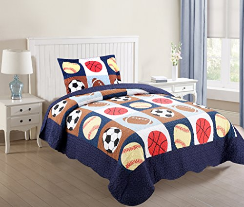 MarCielo 2 Piece Kids Bedspread Quilts Set Throw Blanket for Teens Boys Bed Printed Bedding Coverlet, Twin Size, Blue Basketball Football Sports, American Football (Twin)