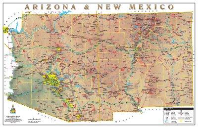 Arizona & New Mexico Physical Highways Wall Map Gloss Laminated (Highway Map Of New Mexico And Arizona)