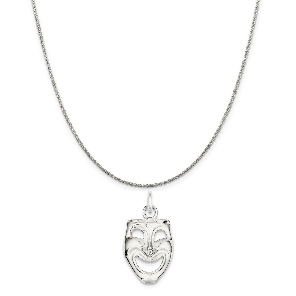 Mireval Sterling Silver Comedy Mask Charm approximately 22 x 14 mm