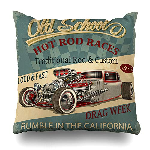 DIYCow Throw Pillows Covers Club Automotive Vintage Hot Rod Car Motor Home Decor Pillowcase Square Size 16 x 16 Inches Cushion Case