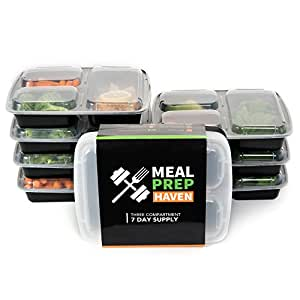 Meal Prep Haven 3 Compartment Food Containers with Airtight Lid, Bento Box, Fitness Lunch Box for Meal Prep, 21 Day Fix and Portion Control, Set of 7