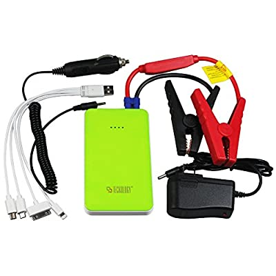 Teckology Multifunction Slimest Compact Car Jump Starter 8000mAh Portable External Power Bank Universal Charger for Apple, Samsung Android Green