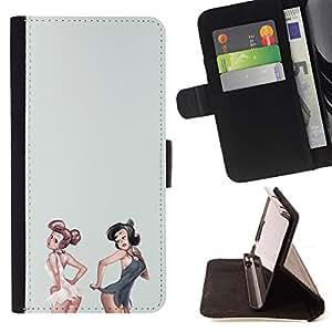 - Queen Pattern FOR Samsung ALPHA G850 /La identificaci????n del cr????dito ranuras para tarjetas tir????n de la caja Cartera de cuero cubie - sexy pinup girls white grey lingerie