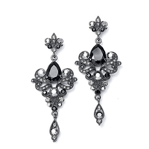 Pewter Dangle Pierced Earrings - Mariell Vintage Black and Grey Crystal & CZ Chandelier Dangle Earrings for Fashion, Prom, Bridesmaids