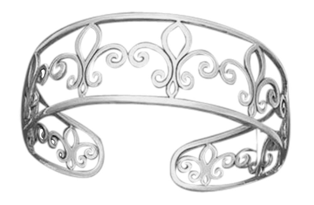 Openwork Sterling Silver Fleur-de-lis Cuff Bracelet
