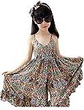 SHFZ Women and Little Girls Kids Summer Beach Dress Sundress Jumpsuit One-piece (Kid(170cm), Orange)