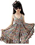 SHFZ Little Girls Kids Summer Beach Dress Sundress Jumpsuit (Kid(160cm), Orange)