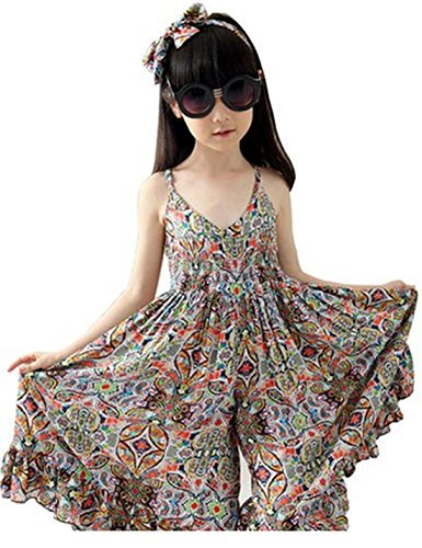 SHFZ Little Girls Kids Summer Beach Dress Sundress Jumpsuit (Kid(160cm), Orange) by SHFZ (Image #2)