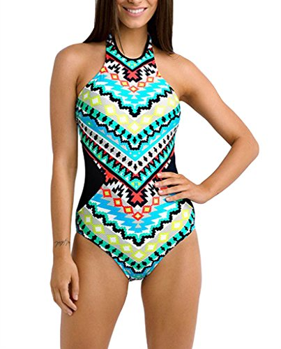 EVALESS Women Stylish Monochrome Tribal Print Hollow Out Bathing Suit X-Large Size Black