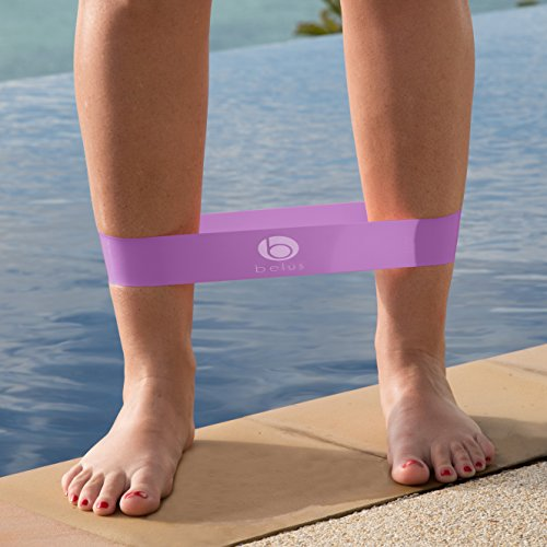 Belus Resistance Bands with Carry Bag, Video & eBook. Set of Four Loop Bands for Exercise and Fitness (Purple and Pink)