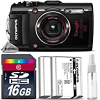 Olympus Stylus TOUGH TG-4 Digital Camera (Black) + 16GB CLASS 10 MEMORY CARD + Replacement Battery for Olympus LI-92B + Cleaning Kit - International Version