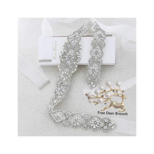 - Bridal Belt White Organza Sashes Silver Crystal Rhinestone Appliques and A Wedding Brooch for Wedding Prom Evening Women Dresses