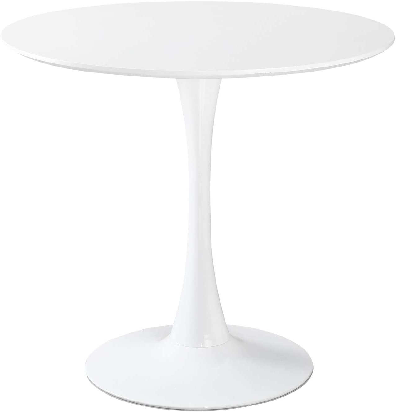 "GreenForest Round Dining Table 32"" Mid-Century Modern Tulip Leisure Coffee Table with Metal Pedestal Base in White"