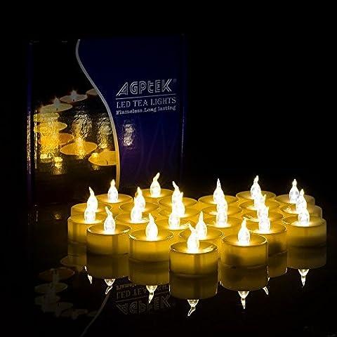 AGPtek® 100 Battery Operated LED Amber Flameless Flickering Flashing Tea Light Candle
