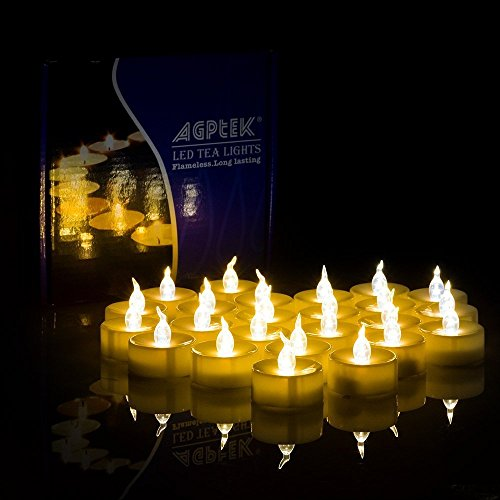 AGPTEK 100 Battery Operated LED Amber Flameless Flickering Flashing Tea Light Candle -