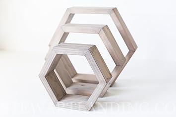 Amazon Com Hexagon Shelf Set Of 3 Geometric Hexagon Shelves