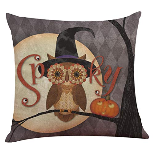"YOcheerful Halloween Pillow Cover Pumpkin Witch Scary Bat Ghost Devil Kittens (C,45cm45cm/1818"")"