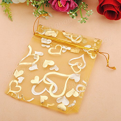 Festival Gifts & Party Supplies Gift Packaging Supplies - 100pcs Golden Luxury Heart Organza Jewelry Favor Gift Bag by Unknown (Image #6)