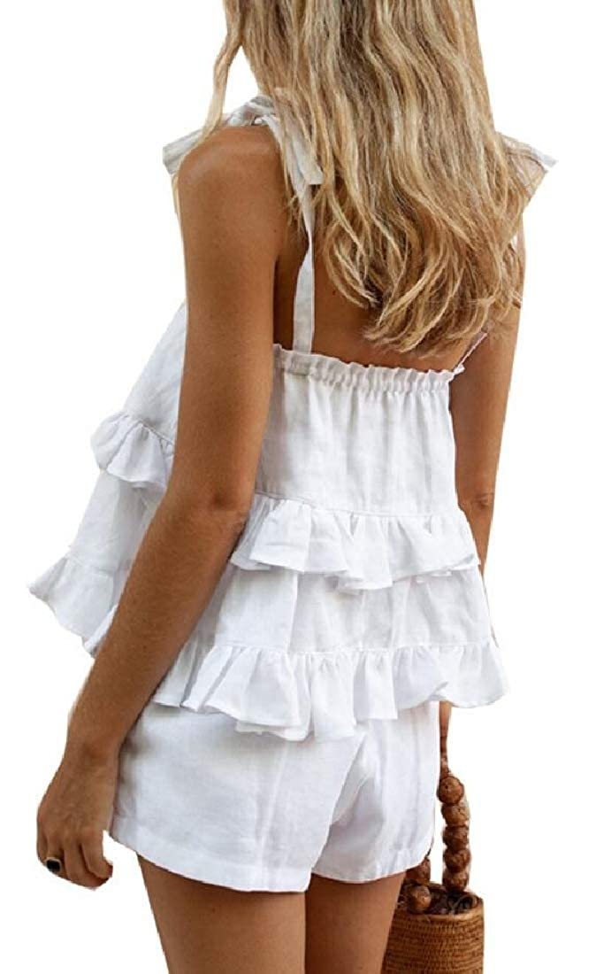 GAGA Womens 2 Piece Cami Top with Shorts Set Romper Boho Playsuit Jumpsuits