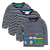 KIDSALON Little Boys' Cotton Crewneck Long Sleeve Cartoon T-Shirt (3T, animals01)