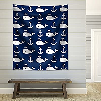 Nautical Symbols with a Whale Pattern on a Navy Blue Background - Fabric Tapestry, Home Decor - 51x60 inches
