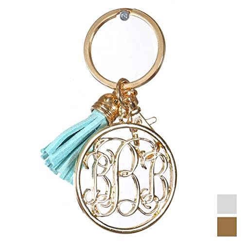 Knitting Factory Personalized Monogrammed Alphabet Initial Letter Keychain, Key Ring, Bag Charm w/ Tassel (B-Gold) ()