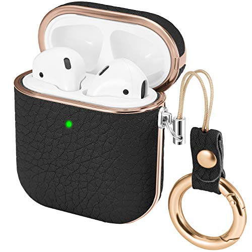 iHillon Compatible with Airpods Case, Classic Genuine Leather Skin TPU Protective Cover with Keychain Compatible with Airpods 2 & 1 Wireless and Wired Charging Case (Front LED Visible)(Black) Blk Leather Like Cover