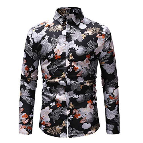 183480f35 KASAAS Vintage Shirts for Men Floral Print Button-Up Blouse Square Collar  Long Sleeve Casual