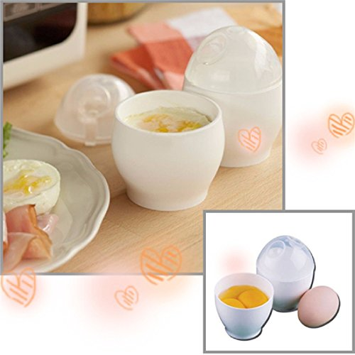 JD Million shop Useful 2016 Practical 2Pcs White Microwave Oven Cup Poacher For Various Ways Of Cooking Quick Eggs Cooker