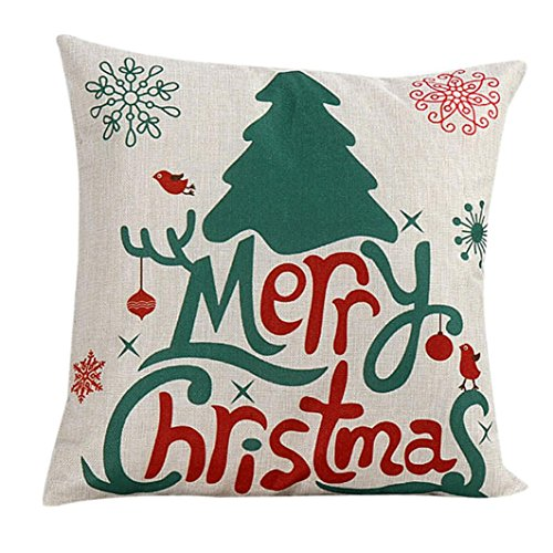 "Price comparison product image Tenworld Linen Merry Christmas Sofa Bed Home Decor Pillow Case Cushion Cover 18""x18"""