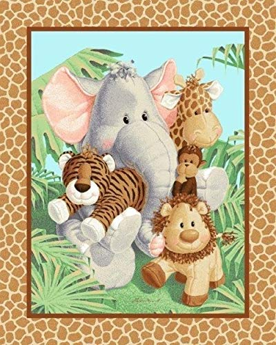 Jungle Baby Animals Cotton Fabric Panel - Designed by Patty Reed (Great for Quilting, Sewing, Craft Projects, Wall Hangings, and More) 35