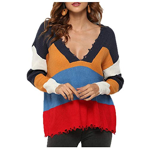 (Womens Ripped Sweater Rainbow Striped V Neck Multi Color Block Long Sleeve Loose Casual Knit Pullover Crop Top (Navy, L(US Size 8~10)))