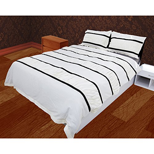 The Forty Winks Designer Chic Ruched with Ribbon Piping Duvet Set With Zipper & Corner Ties 100% Egyptian Cotton 600 Thread Count (California King/King, White with Black)