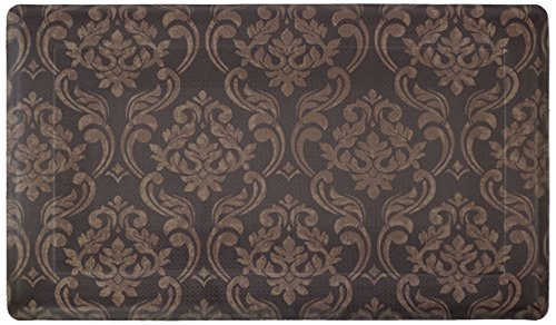 Chef Gear Chain Damask Anti-Fatigue Comfort Memory Foam Chef Mat, 18 by 30-Inch, Chocolate/Linen