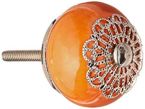 reloved Living kn223Pomos de Cerámica con Plata Overlay de metal, naranja, Conjunto de 4