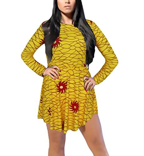 Fiesta Slim Vestidos Fit Elegantes Asimetricas Moda Corto Irregular Cuello Hippie Coctel Larga Vintage Mujer Fiesta Manga De Swing Leopardo Vestido Dresses Cortos Señoras Amarillo Redondo ZWAI6qpIO