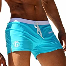 Sexy Men Swimwear - AQUX Hot Sexy Men Swimwear Men's Swimsuits Surf Board Beach Wear Man Swimming Trunks Boxer Shorts Swim Suits, Sky blue XXL