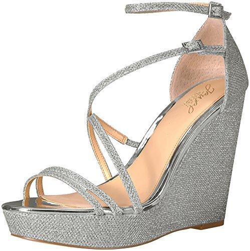 Badgley Mischka Jewel Women's Tatsu Wedge Sandal, Silver, 7