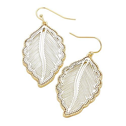 Rosemarie Collections Women's Boho Chic Two Tone Decorative Leaf Dangle Earrings (Gold Tone and Silver)