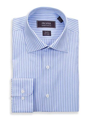 (Slim Fit Blue White Striped Spread Collar 2 Ply Cotton Dress Shirt)