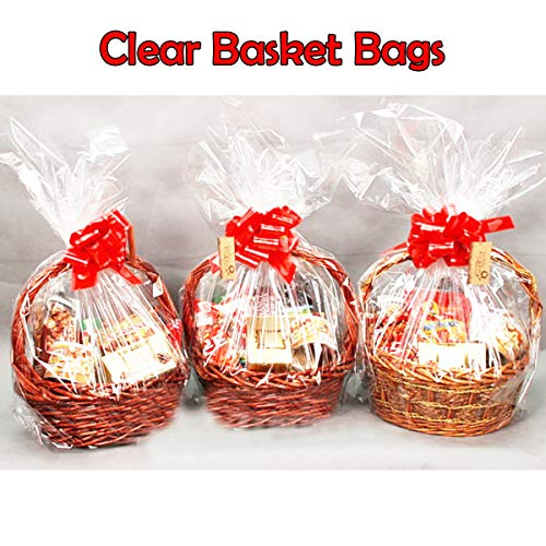 20 Pack Clear Basket Bags Package Bags Cellophane Wrap for Baskets and Gifts, 47 by 32 Inches