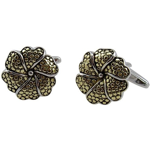 Sterling Silver Flower Shape cufflink Two (Sterling Silver Two Tone Cufflinks)