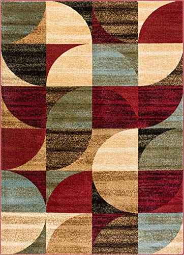 "Well Woven Mid Century Modern Multicolor Geometric Modern Area Rug 3x5 4x6 (3'11"" x 5'3"") Easy to Clean StainShed Free Abstract Contemporary Color Block Boxes Soft Living Dining Room Rug"