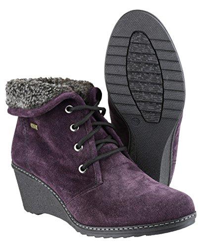 Cotswold - Leather - Purple - Slip-On Ladies Boots - Size 36 37 38 39 40 41 Purple