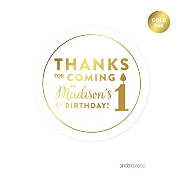 Andaz press personalized round circle birthday favor gift labels stickers metallic gold ink thanks