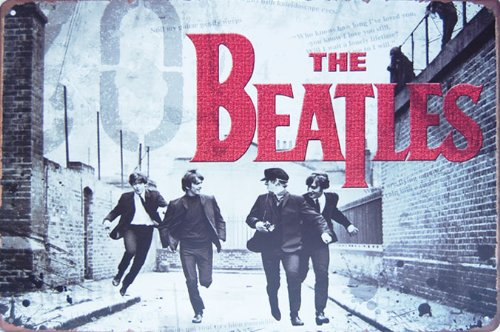 - The Beatles Rock Band Music, Metal Tin Sign, Vintage Style Wall Ornament Coffee & Bar Decor, Size 8